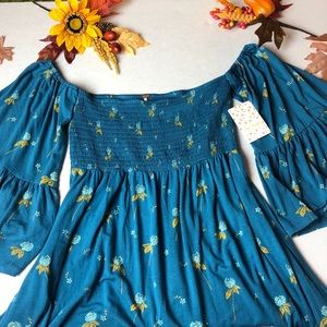 NWT Free People Lana Tunic in Ocean Blue, Med